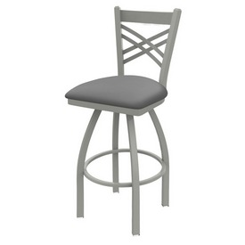 820 Catalina Swivel Stool with Anodized Nickel Finish and Canter Folkstone Grey Seat