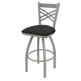 820 Catalina Swivel Stool with Anodized Nickel Finish and Canter Iron Seat