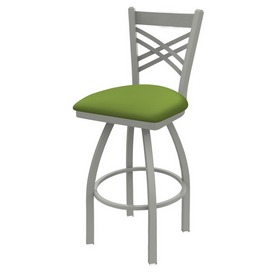 820 Catalina Swivel Stool with Anodized Nickel Finish and Canter Kiwi Green Seat