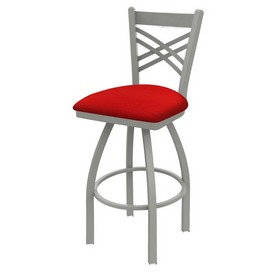 820 Catalina Swivel Stool with Anodized Nickel Finish and Canter Red Seat