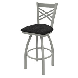 820 Catalina Swivel Stool with Anodized Nickel Finish and Graph Coal Seat