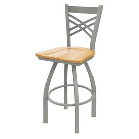 820 Catalina Swivel Stool with Anodized Nickel Finish and Natural Oak Seat