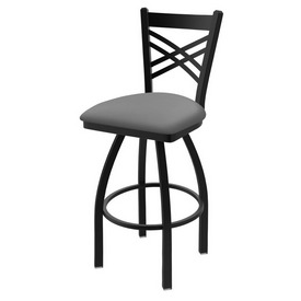 "820 Catalina 36"" Swivel Bar Stool with Black Wrinkle Finish and Canter Folkstone Grey Seat"