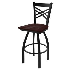 "820 Catalina 36"" Swivel Bar Stool with Black Wrinkle Finish and Dark Cherry Maple Seat"