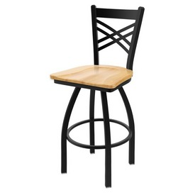 "820 Catalina 36"" Swivel Bar Stool with Black Wrinkle Finish and Natural Maple Seat"