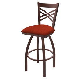 820 Catalina Swivel Stool with Bronze Finish and Graph Poppy Seat