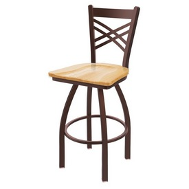 820 Catalina Swivel Stool with Bronze Finish and Natural Oak Seat