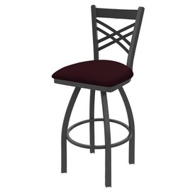 820 Catalina Swivel Stool with Pewter Finish and Canter Bordeaux Seat