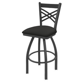 820 Catalina Swivel Stool with Pewter Finish and Canter Iron Seat