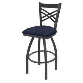 820 Catalina Swivel Stool with Pewter Finish and Graph Anchor Seat