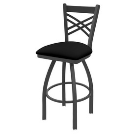820 Catalina Swivel Stool with Pewter Finish and Black Vinyl Seat