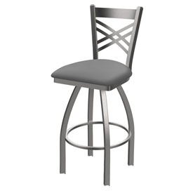 820 Catalina Swivel Stool with Stainless Finish and Canter Folkstone Grey Seat