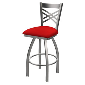 820 Catalina Swivel Stool with Stainless Finish and Canter Red Seat