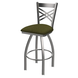820 Catalina Swivel Stool with Stainless Finish and Graph Parrot Seat