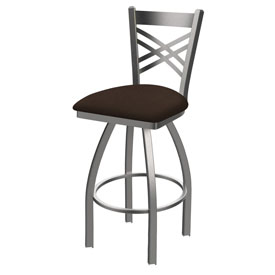 820 Catalina Swivel Stool with Stainless Finish and Rein Coffee Seat