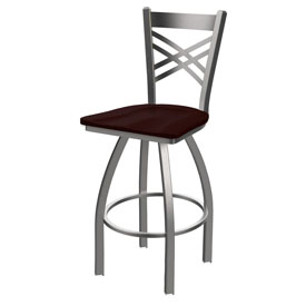 820 Catalina Swivel Stool with Stainless Finish and Dark Cherry Oak Seat