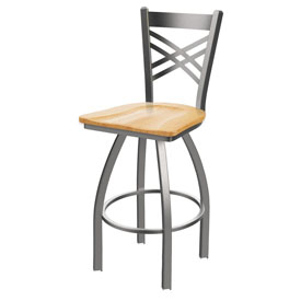 820 Catalina Swivel Stool with Stainless Finish and Natural Oak Seat