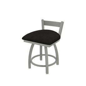 """821 Catalina 18"""" Low Back Swivel Vanity Stool with Anodized Nickel Finish and Canter Espresso Seat"""