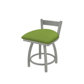 """821 Catalina 18"""" Low Back Swivel Vanity Stool with Anodized Nickel Finish and Canter Kiwi Green Seat"""