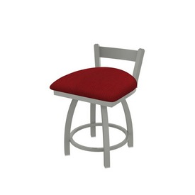 """821 Catalina 18"""" Low Back Swivel Vanity Stool with Anodized Nickel Finish and Graph Ruby Seat"""
