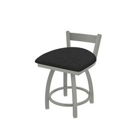 """821 Catalina 18"""" Low Back Swivel Vanity Stool with Anodized Nickel Finish and Graph Coal Seat"""