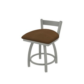 """821 Catalina 18"""" Low Back Swivel Vanity Stool with Anodized Nickel Finish and Rein Thatch Seat"""