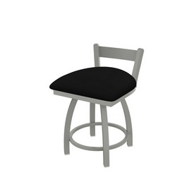 """821 Catalina 18"""" Low Back Swivel Vanity Stool with Anodized Nickel Finish and Black Vinyl Seat"""