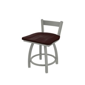 """821 Catalina 18"""" Low Back Swivel Vanity Stool with Anodized Nickel Finish and Dark Cherry Maple Seat"""