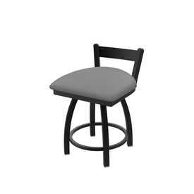 """821 Catalina 18"""" Low Back Swivel Vanity Stool with Black Wrinkle Finish and Canter Folkstone Grey Seat"""