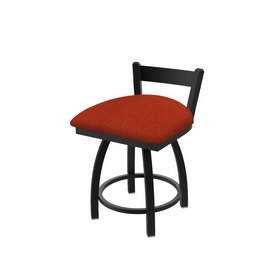 """821 Catalina 18"""" Low Back Swivel Vanity Stool with Black Wrinkle Finish and Graph Poppy Seat"""