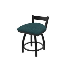 """821 Catalina 18"""" Low Back Swivel Vanity Stool with Black Wrinkle Finish and Graph Tidal Seat"""