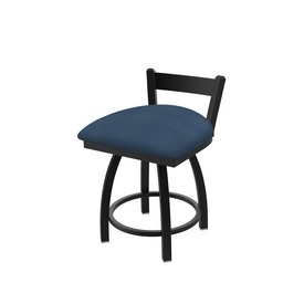"""821 Catalina 18"""" Low Back Swivel Vanity Stool with Black Wrinkle Finish and Rein Bay Seat"""