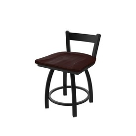 """821 Catalina 18"""" Low Back Swivel Vanity Stool with Black Wrinkle Finish and Dark Cherry Maple Seat"""