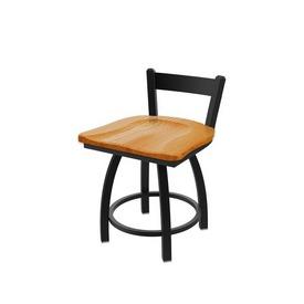 "821 Catalina 18"" Low Back Swivel Vanity Stool with Black Wrinkle Finish and Medium Oak Seat"