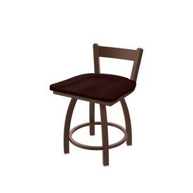 "821 Catalina 18"" Low Back Swivel Vanity Stool with Bronze Finish and Dark Cherry Oak Seat"