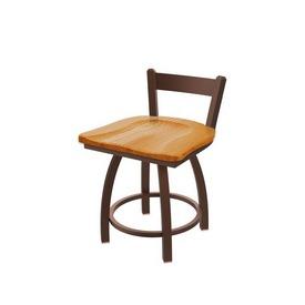 "821 Catalina 18"" Low Back Swivel Vanity Stool with Bronze Finish and Medium Oak Seat"