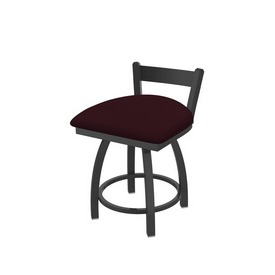 """821 Catalina 18"""" Low Back Swivel Vanity Stool with Pewter Finish and Canter Bordeaux Seat"""