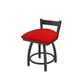 """821 Catalina 18"""" Low Back Swivel Vanity Stool with Pewter Finish and Canter Red Seat"""