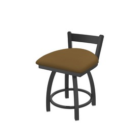 """821 Catalina 18"""" Low Back Swivel Vanity Stool with Pewter Finish and Canter Saddle Seat"""