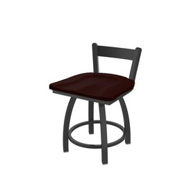 """821 Catalina 18"""" Low Back Swivel Vanity Stool with Pewter Finish and Dark Cherry Oak Seat"""