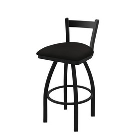 821 Catalina Low Back Swivel Stool with Black Wrinkle Finish and Canter Espresso Seat