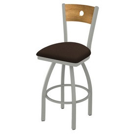 830 Voltaire Swivel Stool with Anodized Nickel Finish, Medium Back and Rein Coffee Seat
