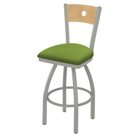 830 Voltaire Swivel Stool with Anodized Nickel Finish, Natural Back and Canter Kiwi Green Seat