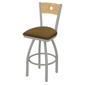 830 Voltaire Swivel Stool with Anodized Nickel Finish, Natural Back and Canter Saddle Seat