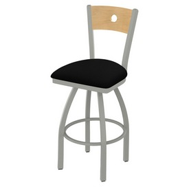830 Voltaire Swivel Stool with Anodized Nickel Finish, Natural Back and Black Vinyl Seat