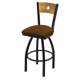 "830 Voltaire 36"" Swivel Counter Stool with Black Wrinkle Finish, Medium Back, and Canter Thatch Seat"