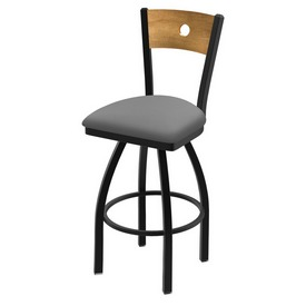 """830 Voltaire 36"""" Swivel Counter Stool with Black Wrinkle Finish, Medium Back, and Canter Folkstone Grey Seat"""