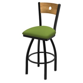 "830 Voltaire 36"" Swivel Counter Stool with Black Wrinkle Finish, Medium Back, and Canter Kiwi Green Seat"