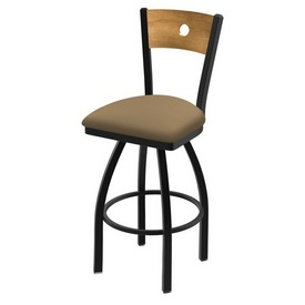 "830 Voltaire 36"" Swivel Counter Stool with Black Wrinkle Finish, Medium Back, and Canter Sand Seat"
