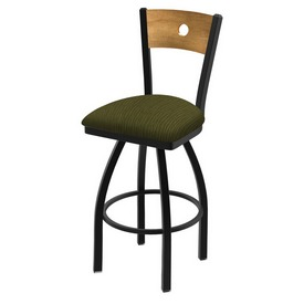 "830 Voltaire 36"" Swivel Counter Stool with Black Wrinkle Finish, Medium Back, and Graph Parrot Seat"